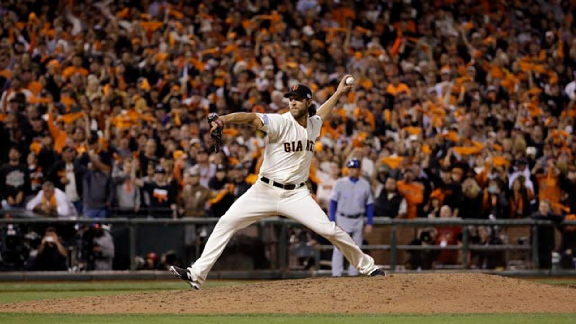 October 26, 2014: San Francisco Giants pitcher Madison Bumgarner throws during the eighth inning of Game 5 of baseball's World Series against the Kansas City Royals in San Francisco. (AP Photo/David J. Phillip)