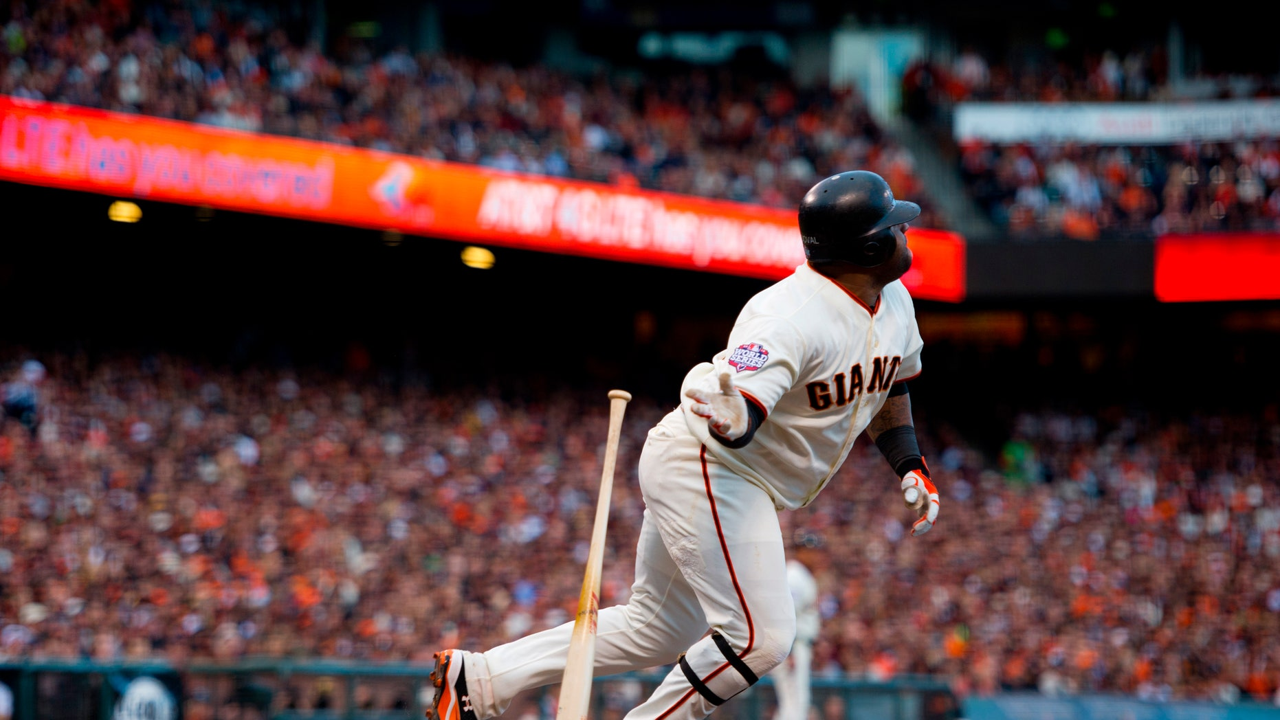 Oct. 24, 2012: San Francisco Giants' Pablo Sandoval (48) watches his solo home run against the Detroit Tigers in the first inning during Game 1 of baseball's World Series in San Francisco.