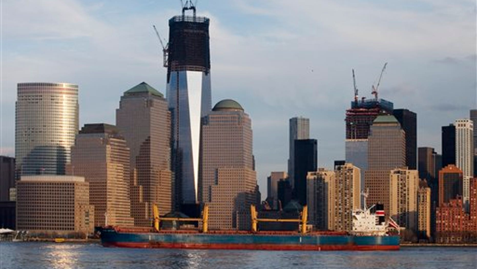 Jan. 24: Freighter Nord Bright passes One World Trade Center, now up to 90 floors, and the lower Manhattan skyline in New York.