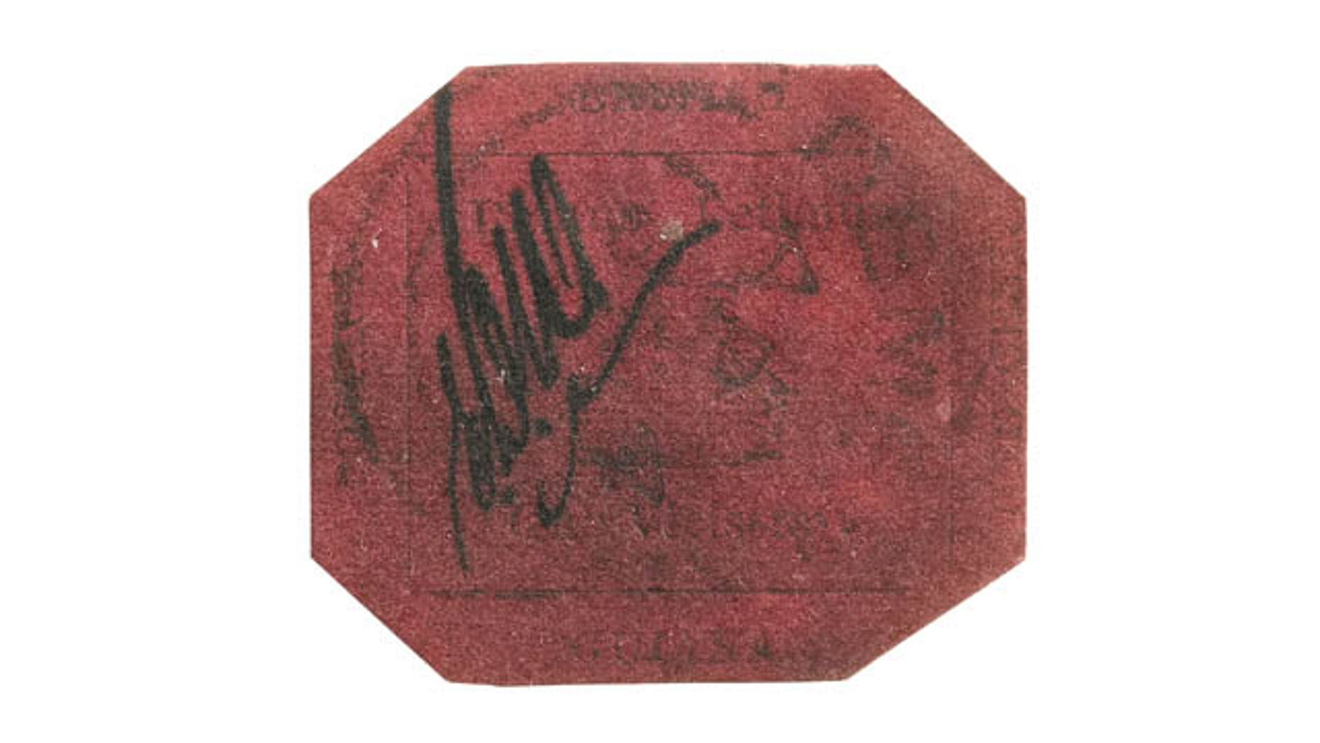 FILE - In this undated file photo provided by Sothebys Auction House, the 1-cent 1856 British Guiana stamp is shown. (AP Photo/Sothebys Auction House)