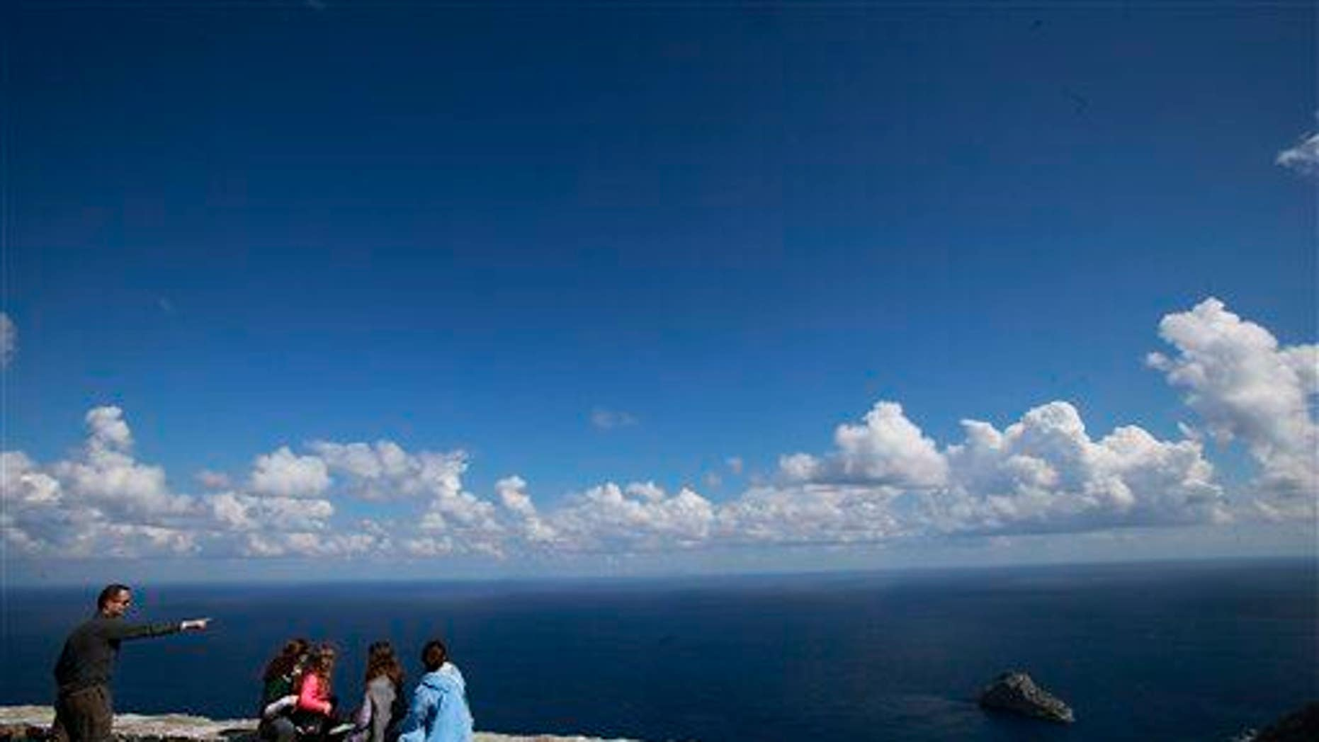 Tourists admire the Aegean, which is home to the island of Astypalaia.