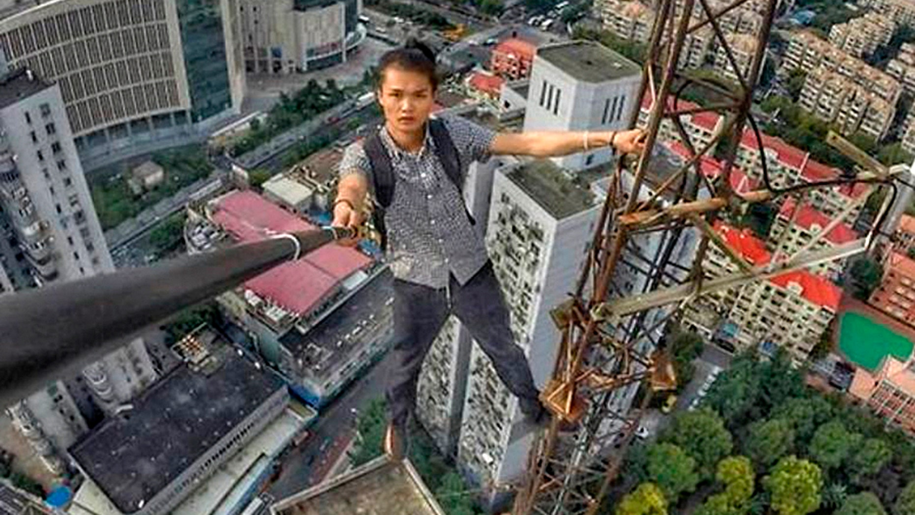 """Rooftopper"" Wu Yongning. (Courtesy of Weibo)"