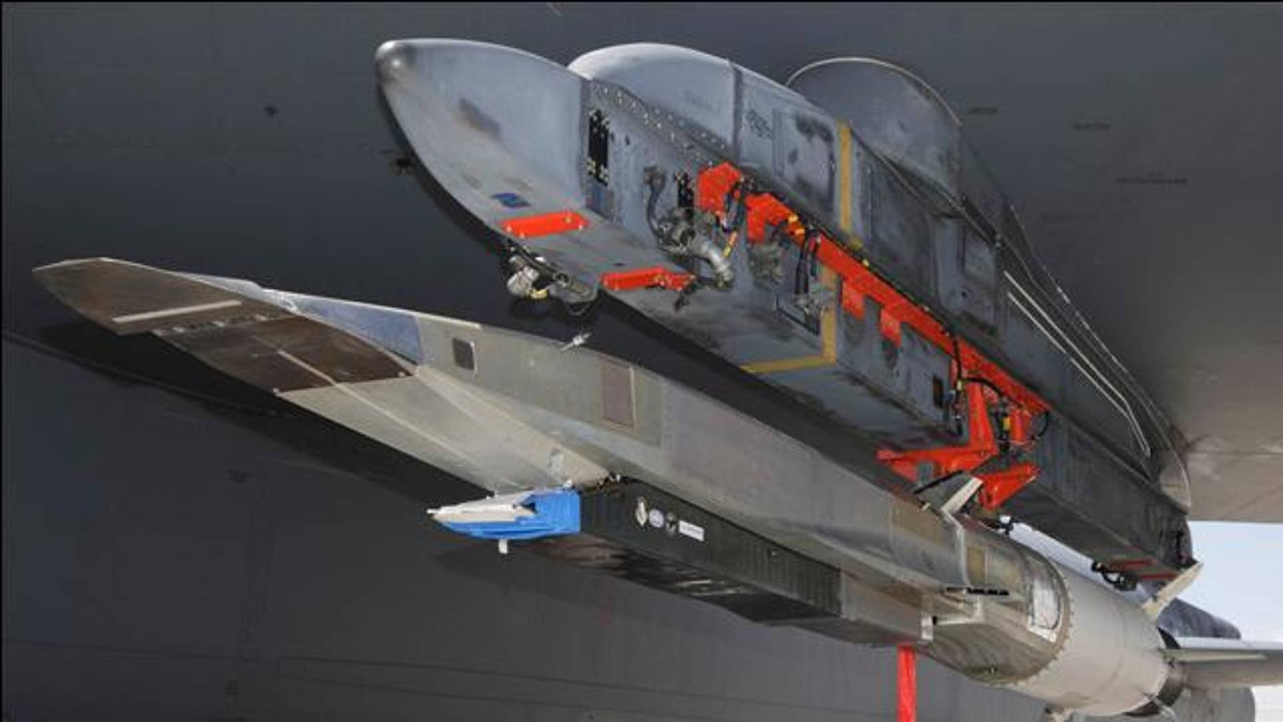 The X-51A WaveRider hypersonic test vehicle was uploaded to a B-52 Stratofortress at Edwards Air Force Base, Calif., July 17 for fit testing.