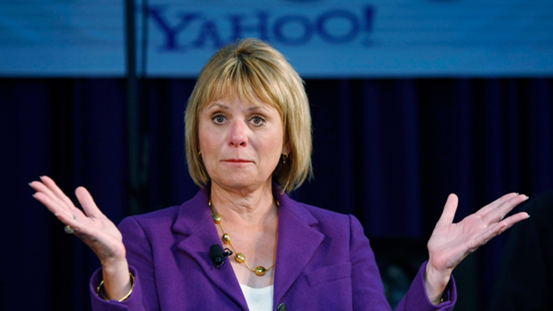 March 2, 2010: Yahoo CEO Carol Bartz gestures at Yahoo headquarters in Sunnyvale, Calif. Bartz was fired from Yahoo Monday after two and a half years as CEO.