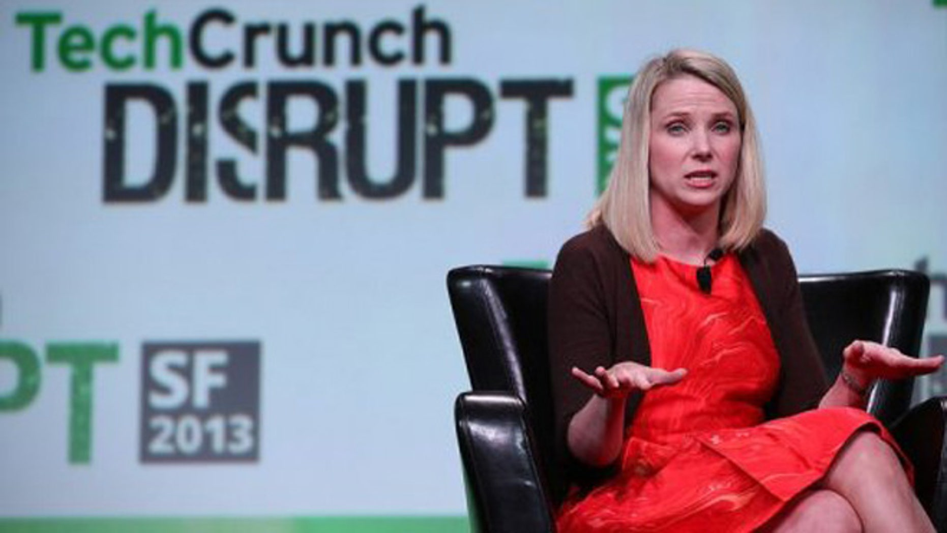 Sept. 11, 2013: Yahoo CEO Marissa Mayer speaks during the 2013 TechCrunch Disrupt conference in San Francisco.