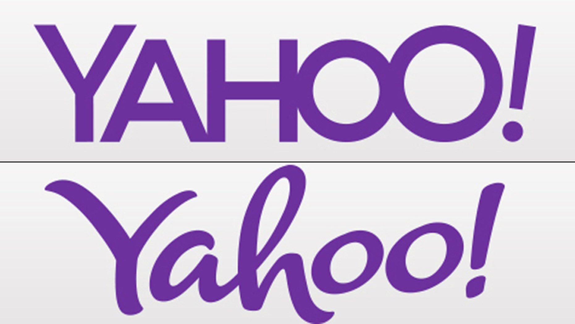 The first two proposed new logos for Yahoo, which plans to unveil a new logo every day for 30 days before settling on a final version.