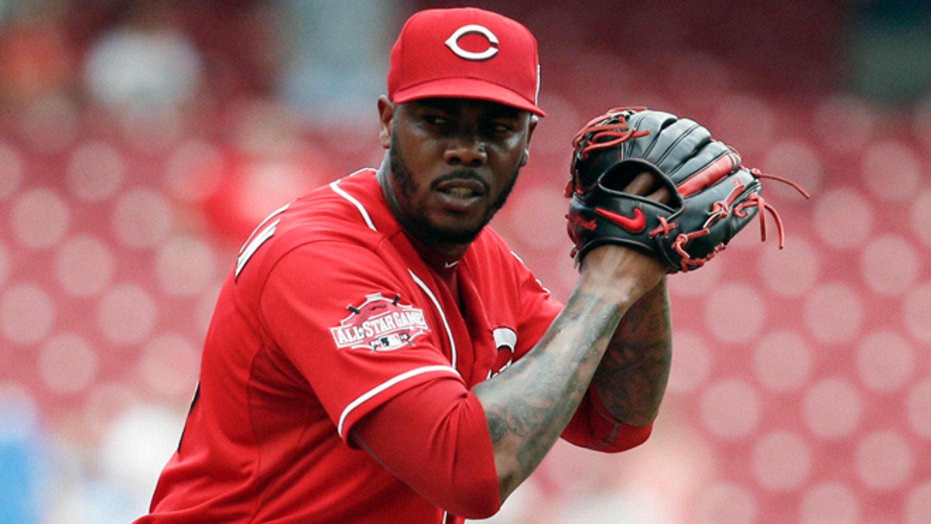 Cincinnati Reds relief pitcher Aroldis Chapman on Monday, Sept. 7, 2015.