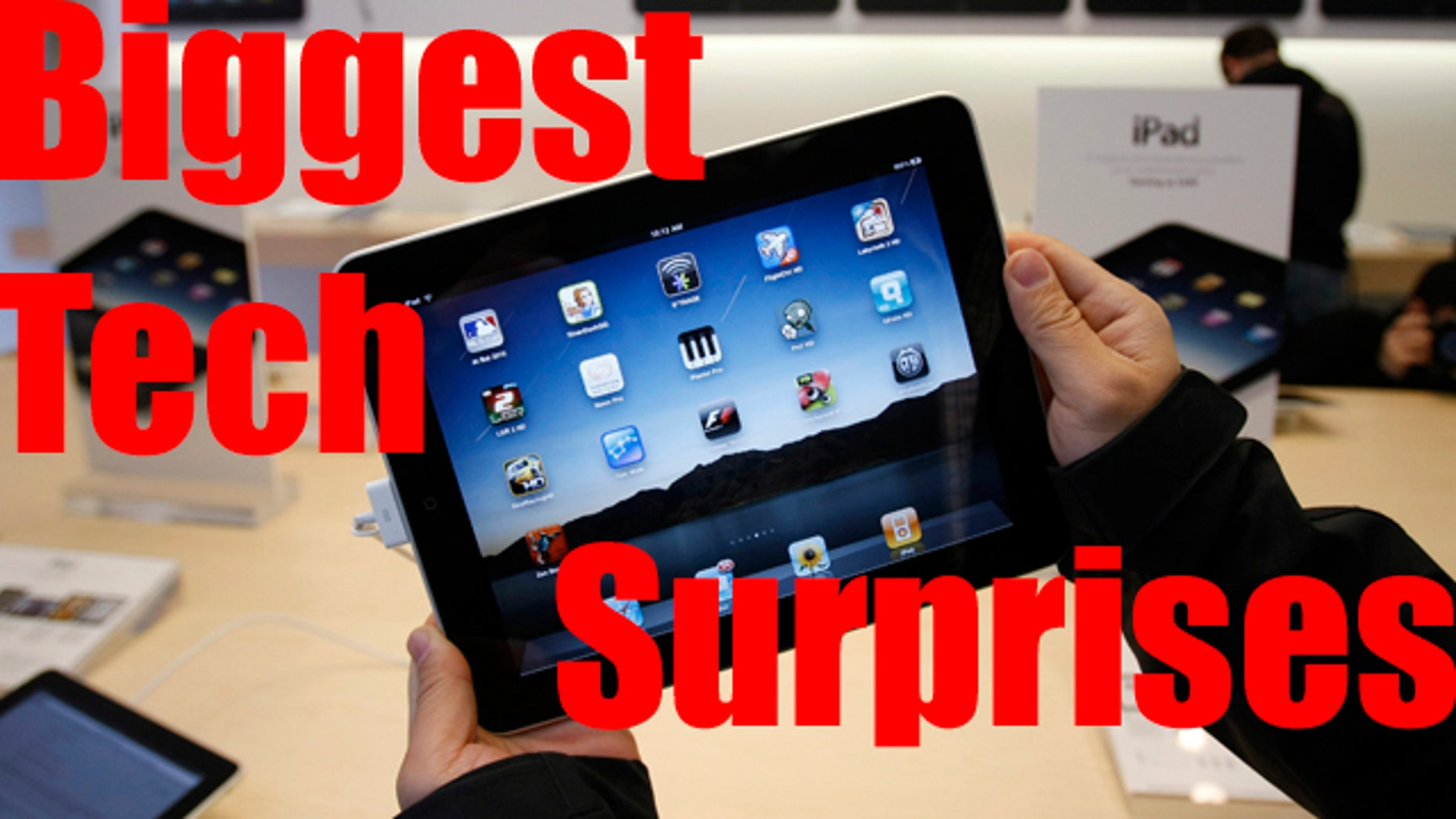 The amazing success of the iPad -- countered by the missteps Apple made with the iPhone -- were among the year's biggest technology surprises.