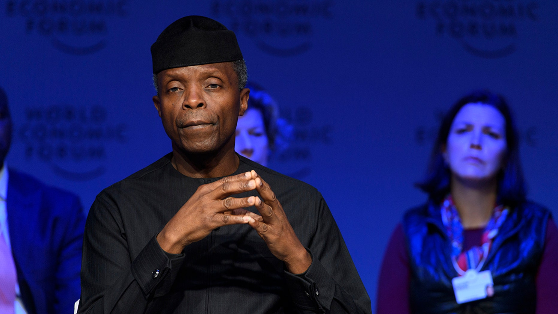 Yemi Osinbajo, Vice-President of Nigeria, attends a panel session during the Annual Meeting of the World Economic Forum, WEF, in Davos, Switzerland, Wednesday, Jan. 24, 2018. (Laurent Gillieron/Keystone via AP)