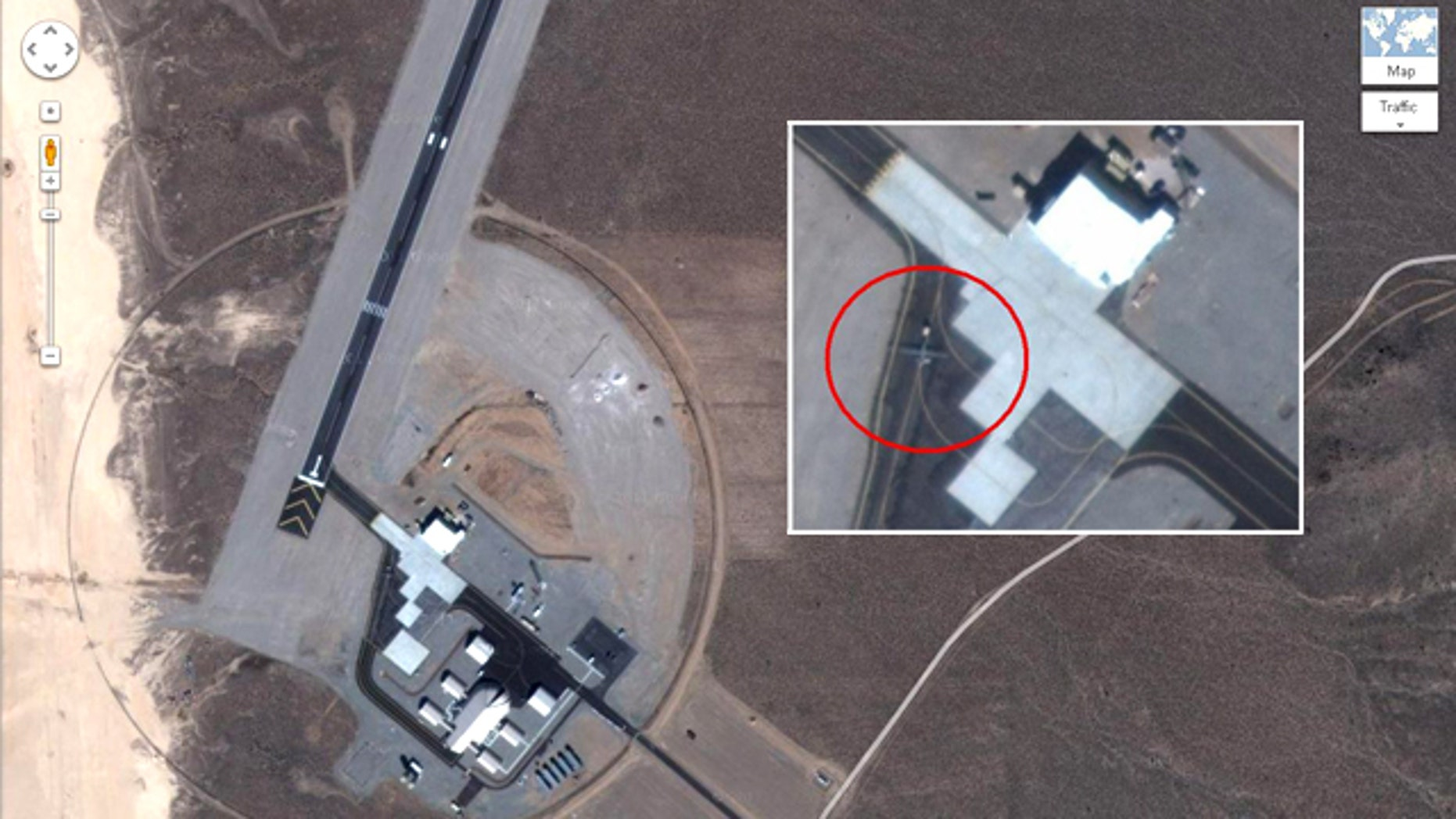 New satellite images posted on Google Maps reveal a secret air base in Yucca Lake, Nev., where drones (circled, either a Predator or a Reaper) and even the top secret RQ170 are reportedly tested.