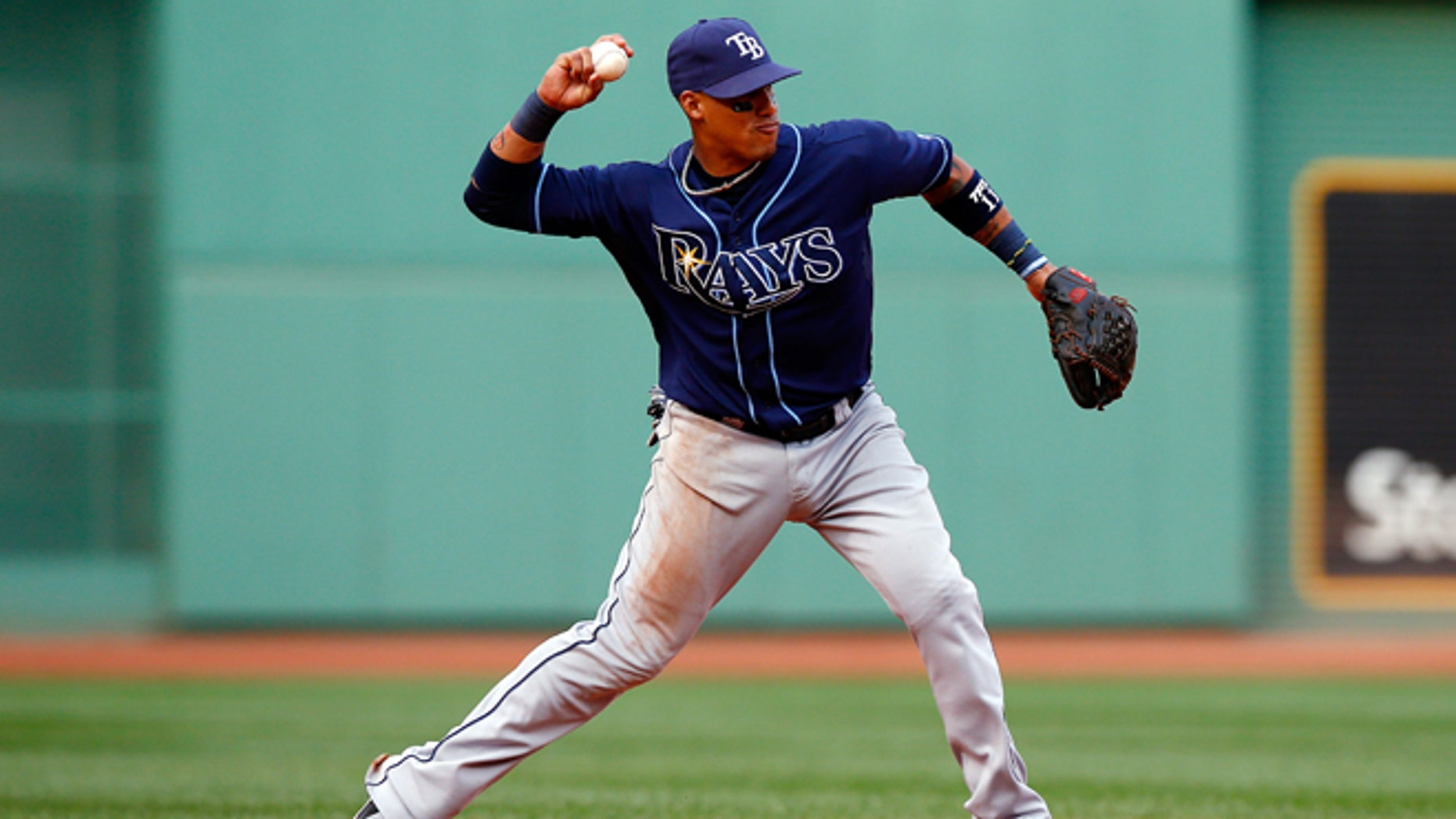 BOSTON, MA - OCTOBER 04:  Yunel Escobar #11 of the Tampa Bay Rays throws to first base against the Boston Red Sox during Game One of the American League Division Series at Fenway Park on October 4, 2013 in Boston, Massachusetts.  (Photo by Jared Wickerham/Getty Images)