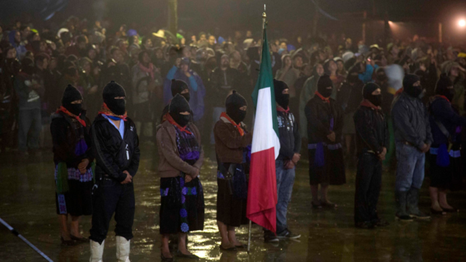 Members of the EZLN mark the 20th anniversary of the Zapatista uprising in Chiapas, Mexico, on Dec. 31, 2013.