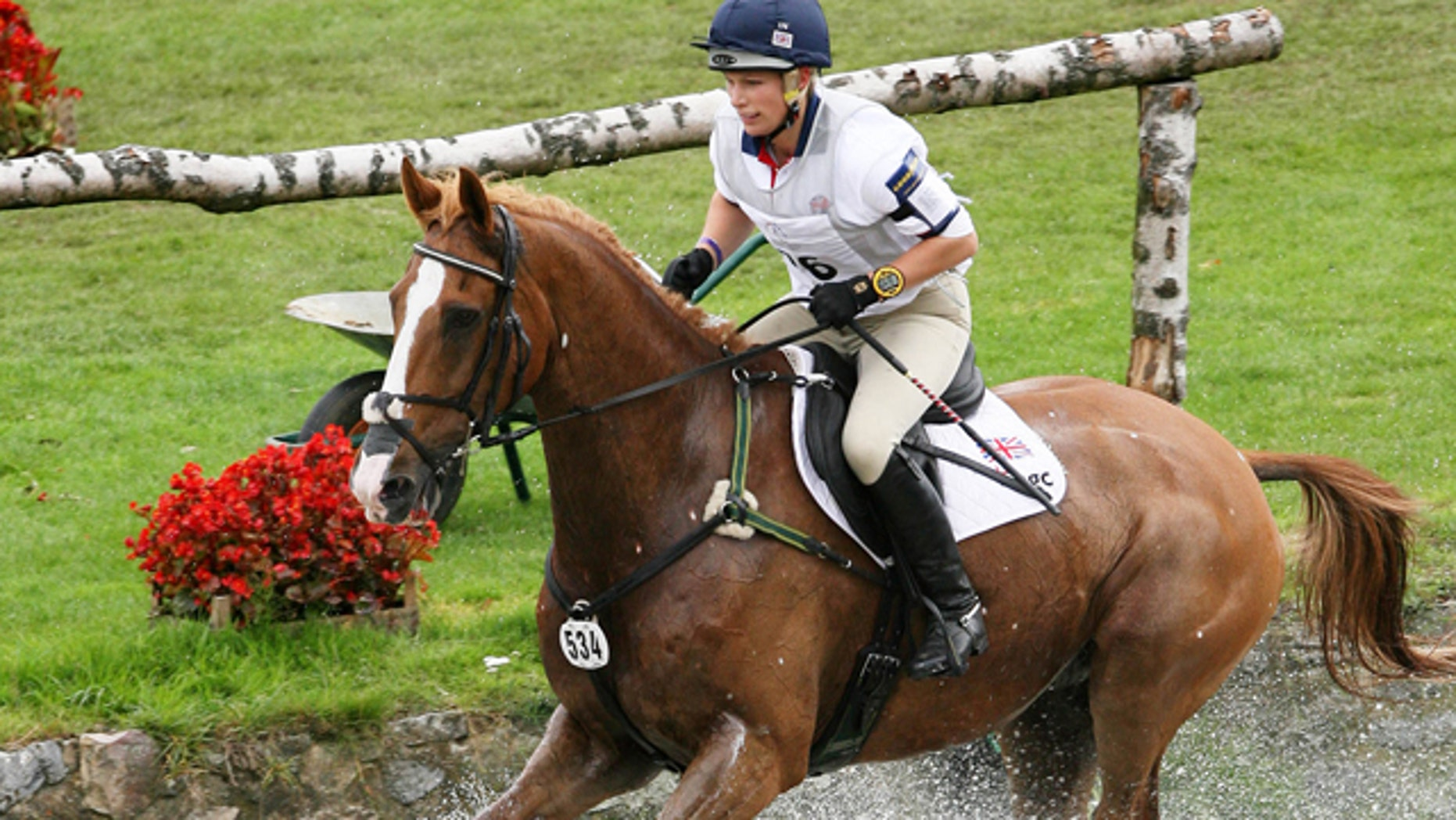 July 7, 2007: This file photo shows Britain's Zara Phillips, granddaughter to Queen Elizabeth II, riding 'Toytown' in the Cross Country Test competition of the Eventing Competitions at the World Equestrian Festival CHIO Aachen 2007 in Aachen, western Germany.