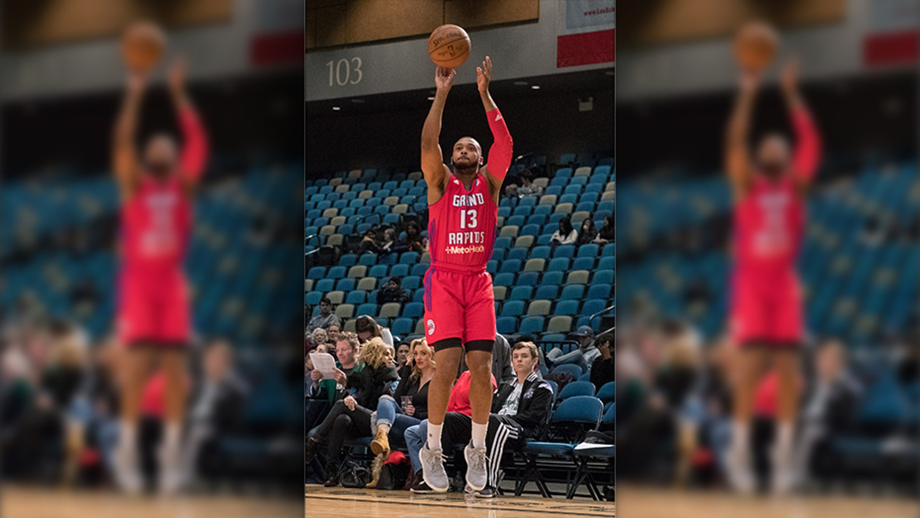 January 9, 2017 - Reno, Nevada, U.S - Grand Rapids Drive Guard ZEKE UPSHAW (13) shoots from the corner during the NBA D-League Basketball game between the Reno Bighorns and the Grand Rapids Drive at the Reno Events Center in Reno, Nevada. (Cal Sport Media via AP Images)
