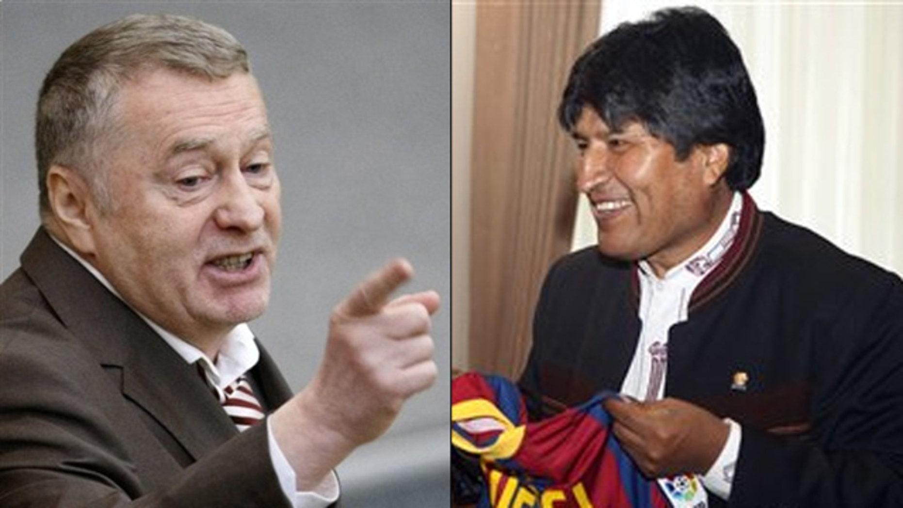 Shown here are Russian political leader Vladimir Zhirinovsky, left, and Bolivian President Evo Morales.