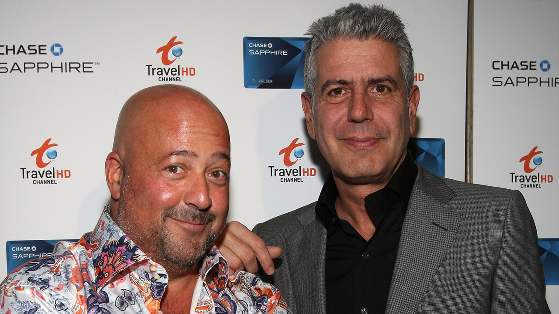 Chefs Andrew Zimmern and Anthony Bourdain attend the Chase Sapphie Card Launch at Weather Room at Top of the Rock on October 22, 2009 in New York City.