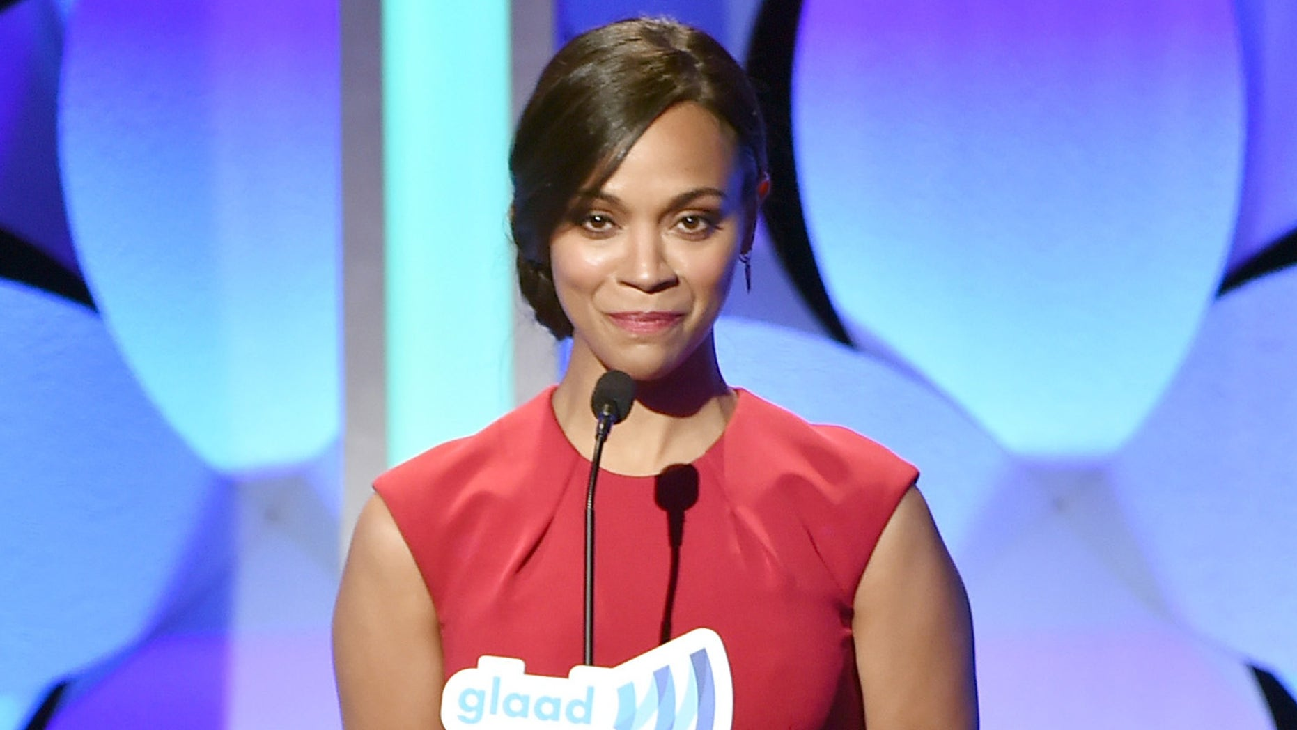 BEVERLY HILLS, CA - MARCH 21:  Actress Zoe Saldana speaks onstage during the 26th Annual GLAAD Media Awards at The Beverly Hilton Hotel on March 21, 2015 in Beverly Hills, California.  (Photo by Kevin Winter/Getty Images for GLAAD)