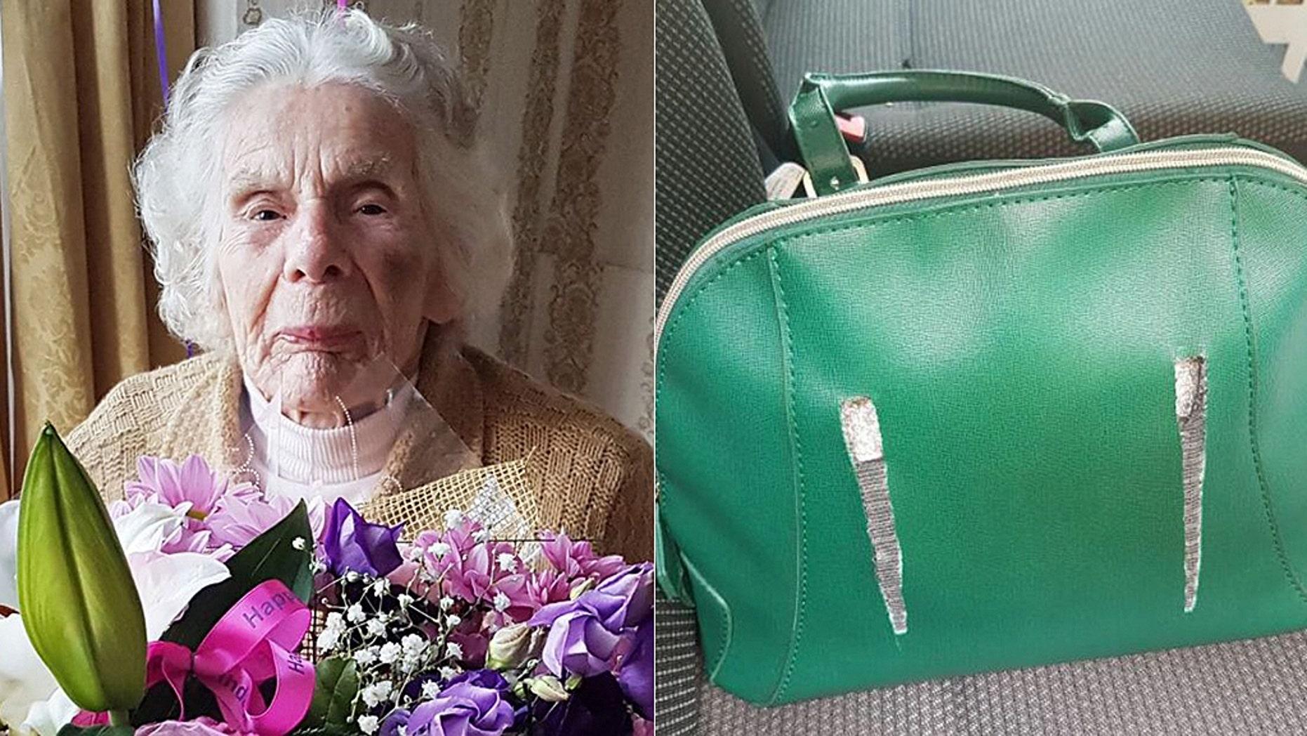Zofija Kaczan, 100, died Wednesday after her neck was broken when her green purse was stolen.