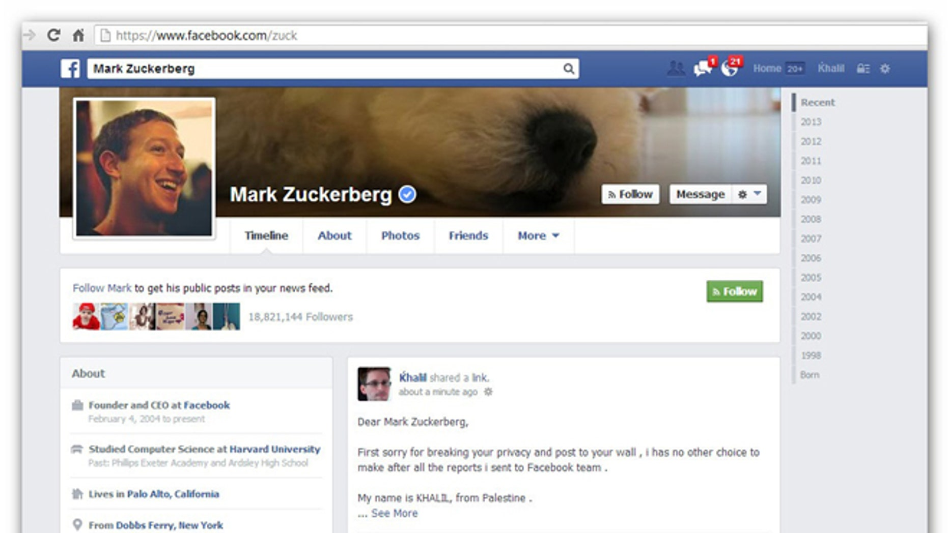 Security researcher Khalil Shreateh posted a bug he discovered on Facebook CEO Mark Zuckerberg's wall after administrators ignored him twice.