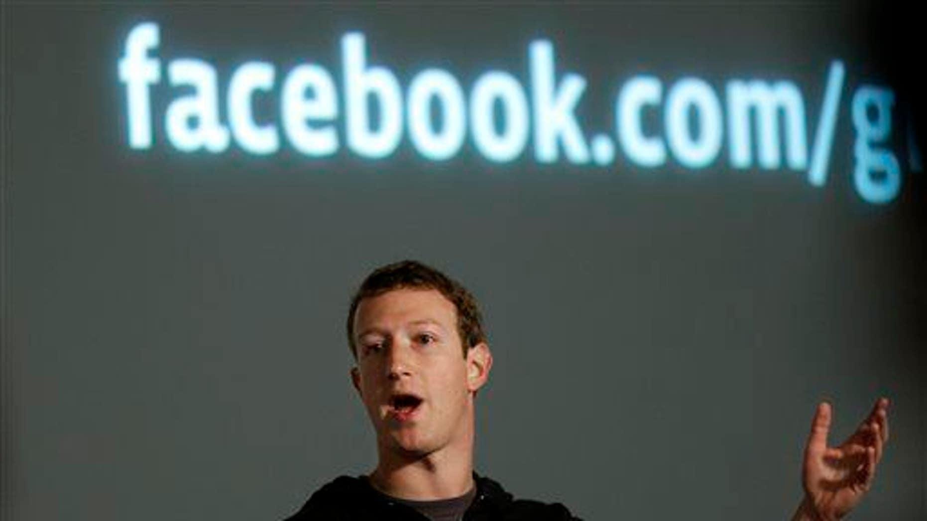 Facebook CEO Mark Zuckerberg speaks at Facebook headquarters.