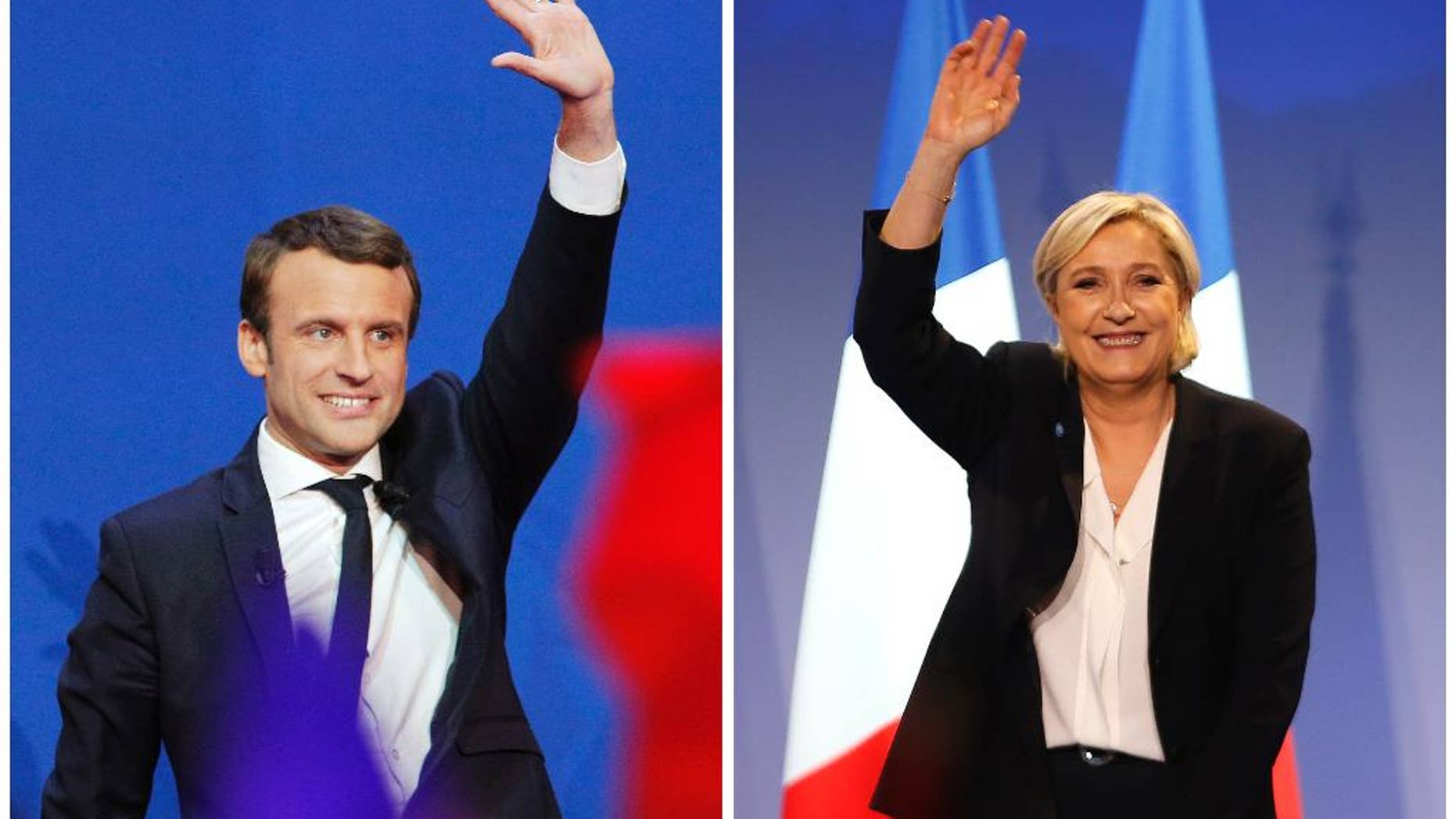 In this photo combination, French centrist presidential candidate Emmanuel Macron waves before he addresses his supporters at his election day headquarters in Paris, Sunday April 23, 2017, left, and far-right candidate for the presidential election Marine Le Pen waves at supporters after she delivers a speech during a meeting in Bordeaux, southwestern France, Sunday, April 2, 2017, right. (AP Photo/ Christophe Ena/ Bob Edme)