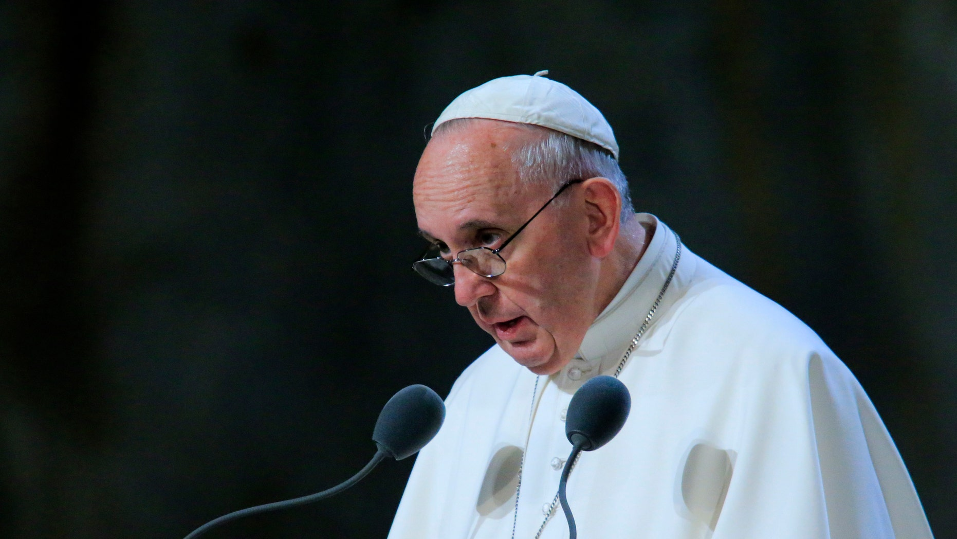 WASHINGTON, DC - SEPTEMBER 25: Pope Francis speaks to attendees inside of the 9/11 Memorial Museum September 25, 2015 in New York City. Pope Francis is on a six-day trip to the United States, which includes stops in Washington DC, New York and Philadelphia.   (Photo by Eduardo Munoz-Pool/Getty Images)
