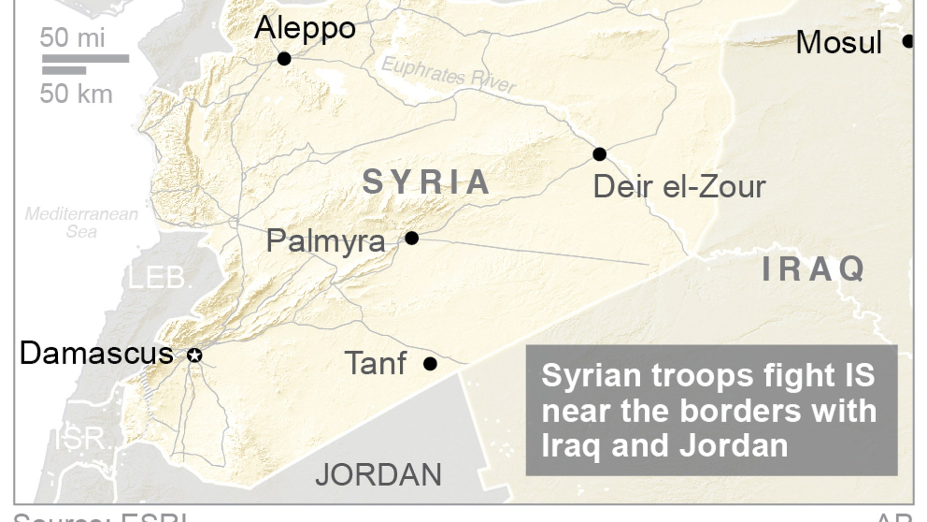 Syrian troops battling in a remote desert area near the borders.