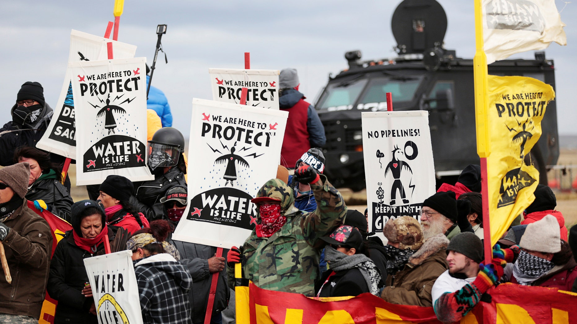 Native Americans protesting the Dakota Access oil pipeline