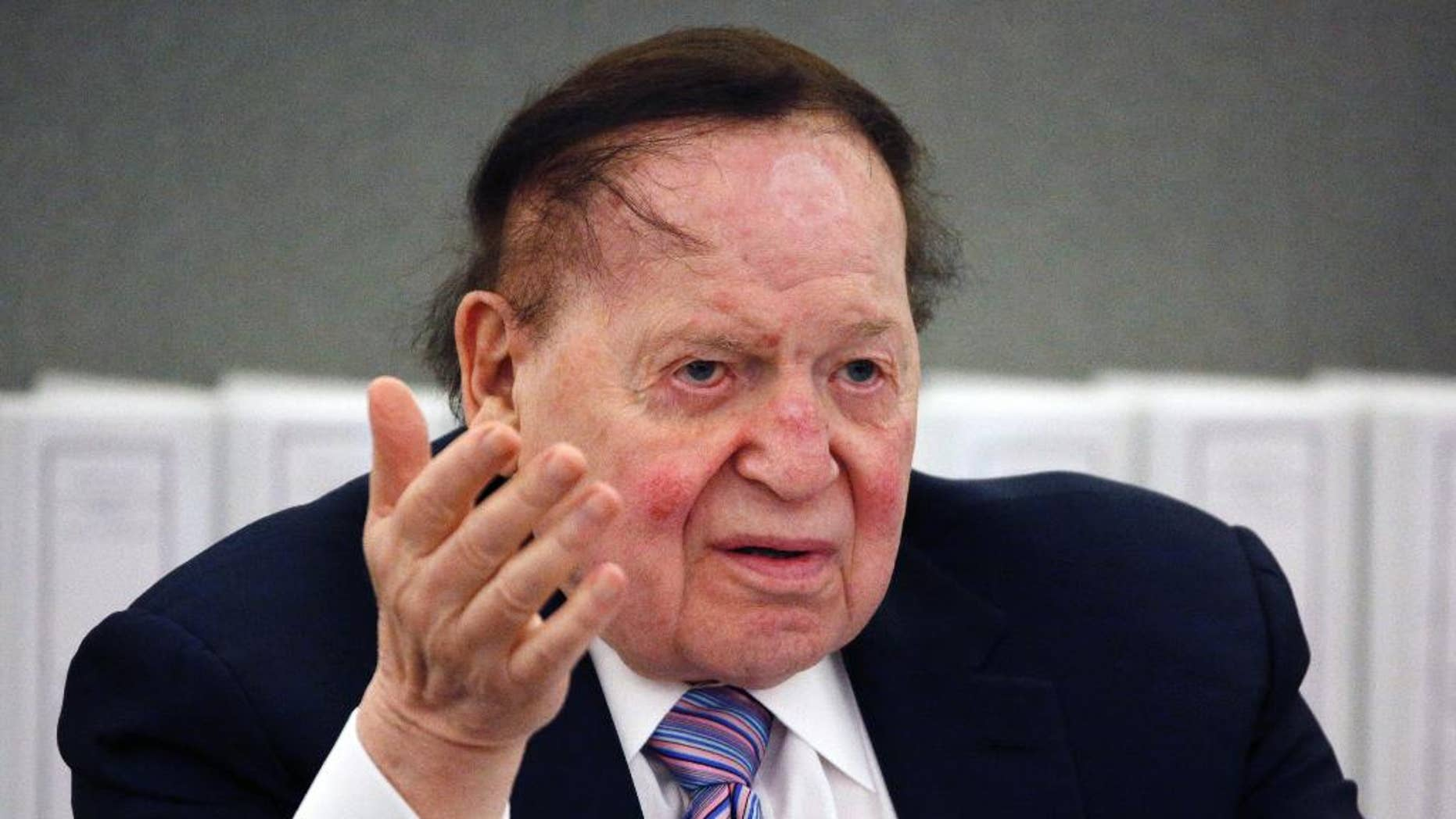 Las Vegas Sands Corp. Chairman and CEO Sheldon Adelson speaks in Las Vegas, May 4, 2015. (Associated Press)