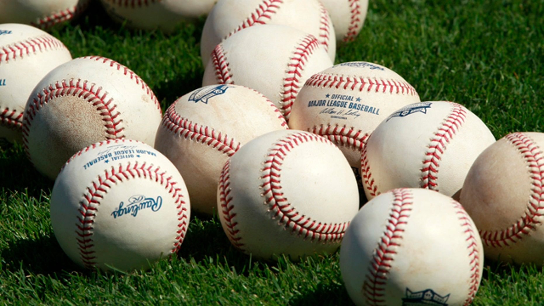 Baseballs sit on the infield grass during batting practice at the Minnesota Twins baseball spring training facility in Fort Myers February 23, 2011.  REUTERS/Hans Deryk  (UNITED STATES - Tags: SPORT BASEBALL)