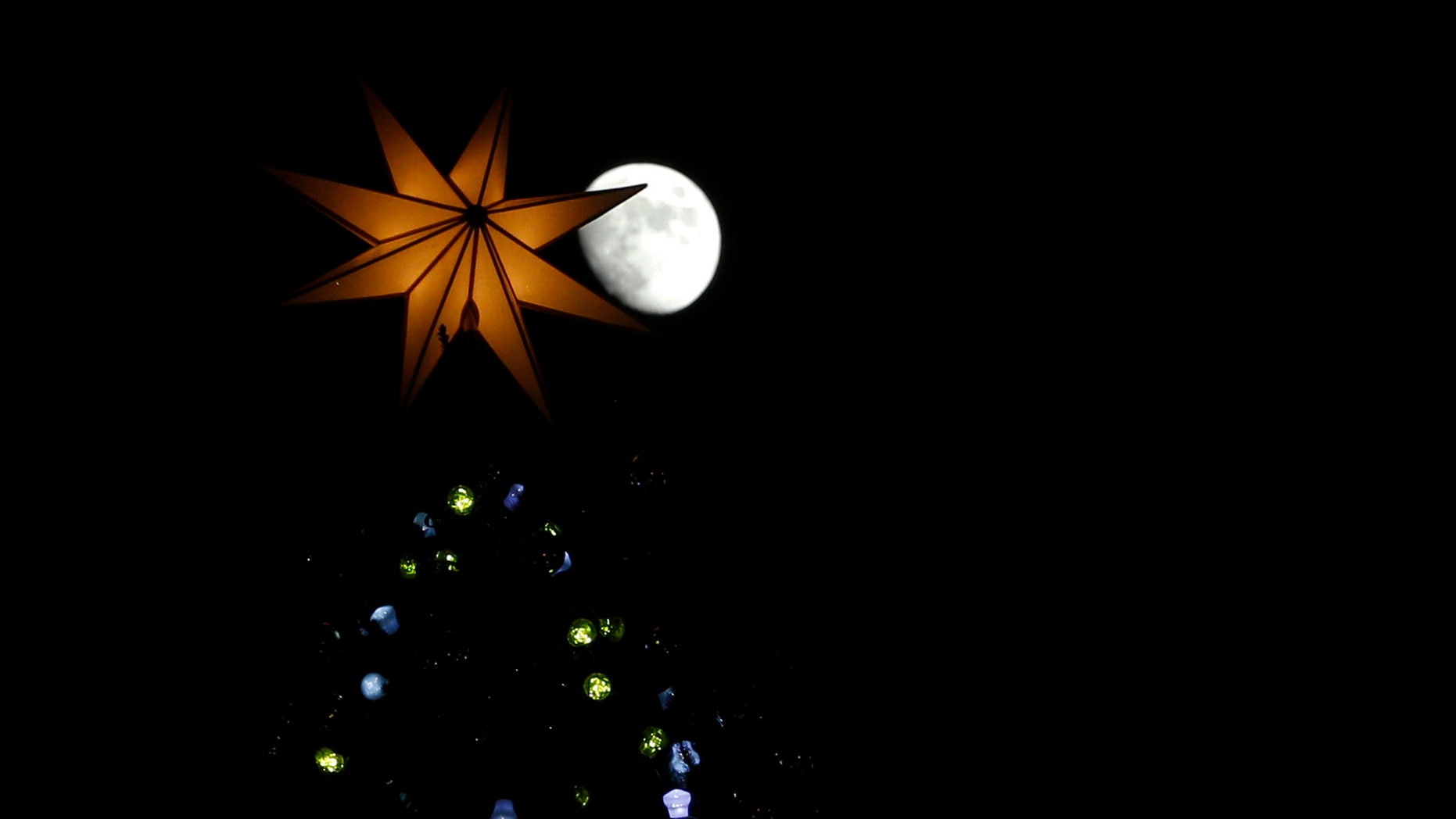 A crescent moon rises above a Christmas tree in St. Peter's Square at the Vatican, Friday, Dec. 13, 2013. The 25-meter (82 feet) tall tree which arrived from Bavaria, Germany was lit Friday evening at the end of ceremony. Big crowds are expected to flock to the square during the holidays to admire the tree. (AP Photo/Andrew Medichini)