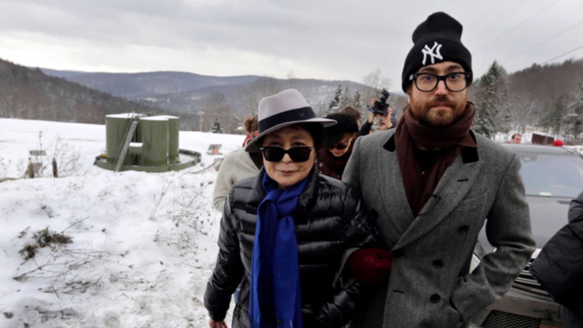 Jan. 17, 2013: Yoko Ono, left, and her son Sean Lennon visit a fracking site in Franklin Forks, Pa., during a bus tour of natural-gas drilling sites in northeastern Pennsylvania.