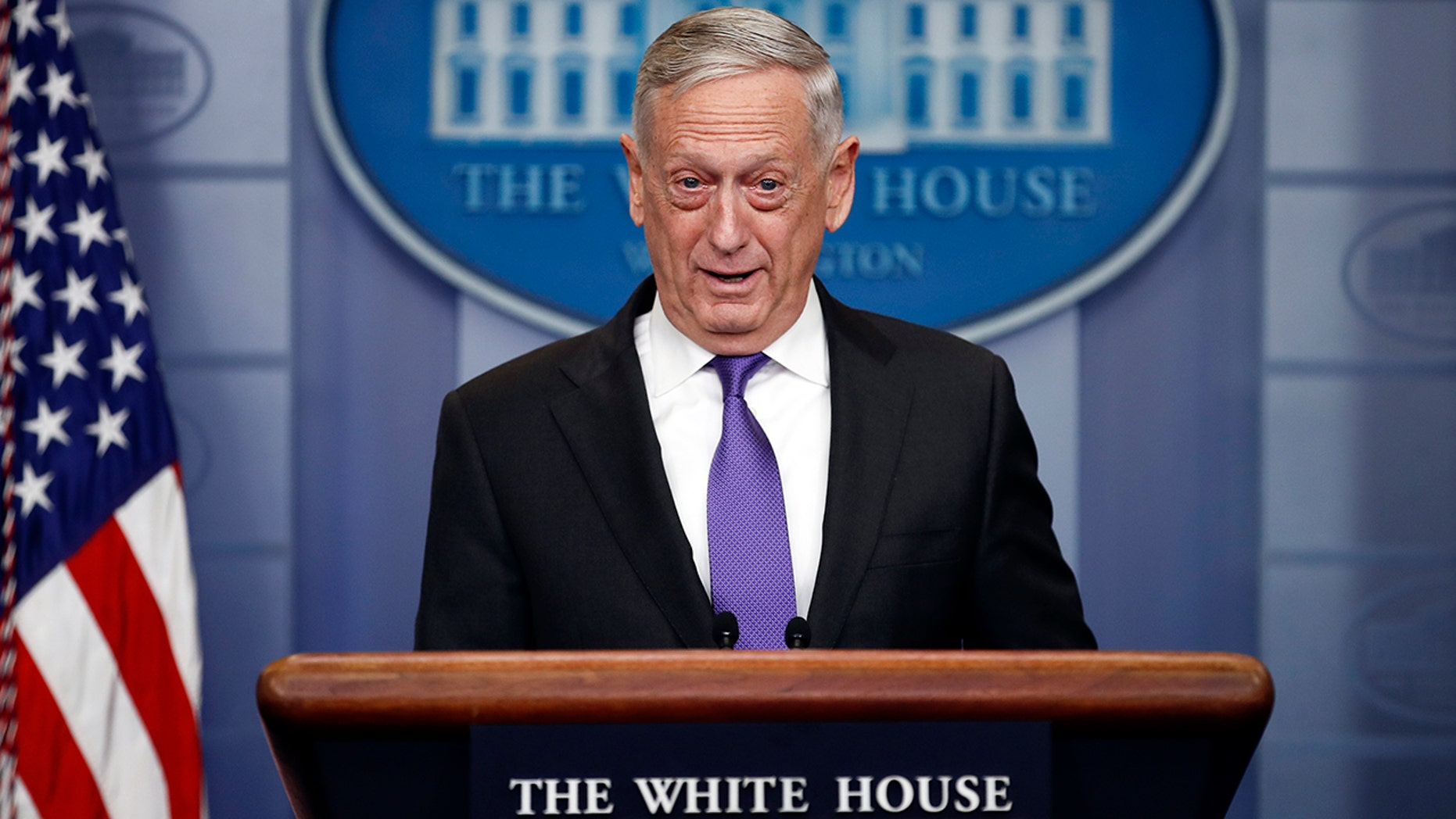 Defense Secretary Jim Mattis speaks during the daily news briefing at the White House, in Washington on Feb. 7. He confirmed that the nearly 850 immigrants currently serving in the military or waiting to start training won't face deportation.