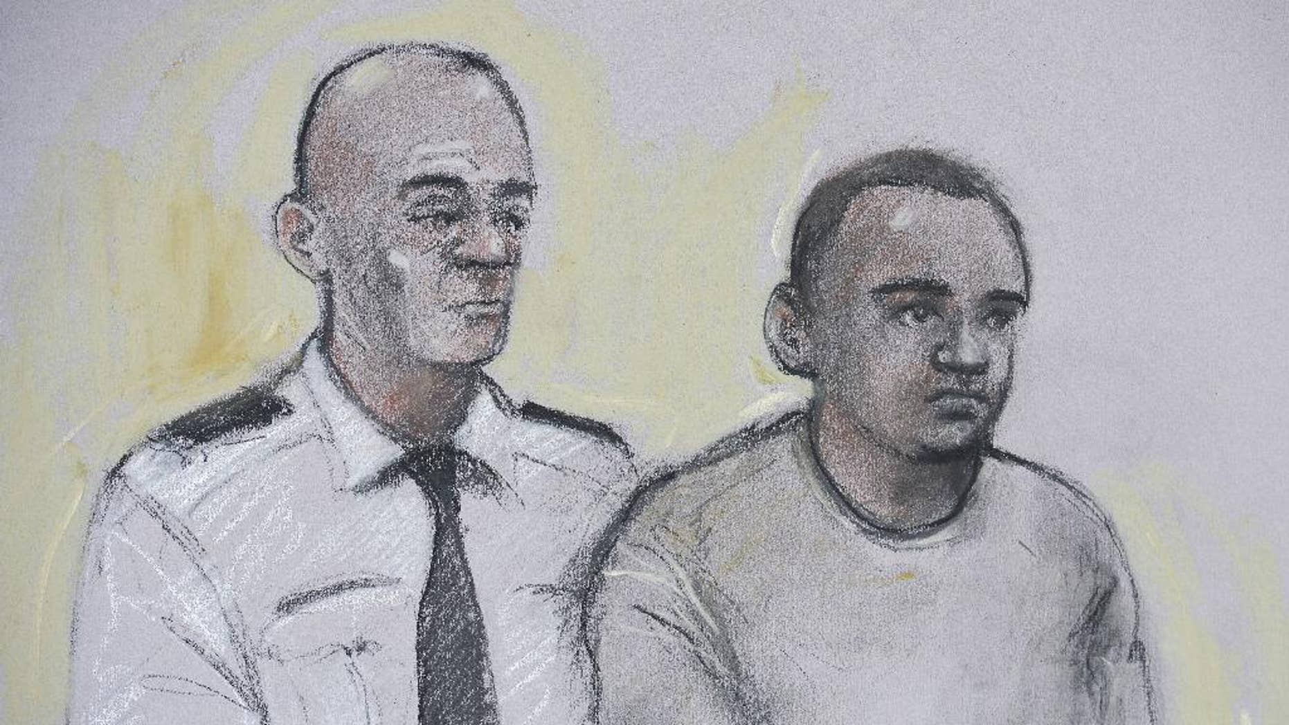 This courtroom sketch by artist Elizabeth Cook shows Zakaria Bulhan, right, appearing at Westminster Magistrates Court in London, Saturday, Aug. 6, 2016. The 19-year-old Somali-Norwegian man is accused of carrying out a stabbing rampage in London's Russell Square and was remanded into custody Saturday after a court appearance in the British capital. Zakaria Bulhan of London is accused of slaying 64-year-old American Darlene Horton, a retired teacher. Bulhan also faces five counts of attempted murder in the attack on two Australians, an Israeli, an American and a British citizen. (PA via AP)