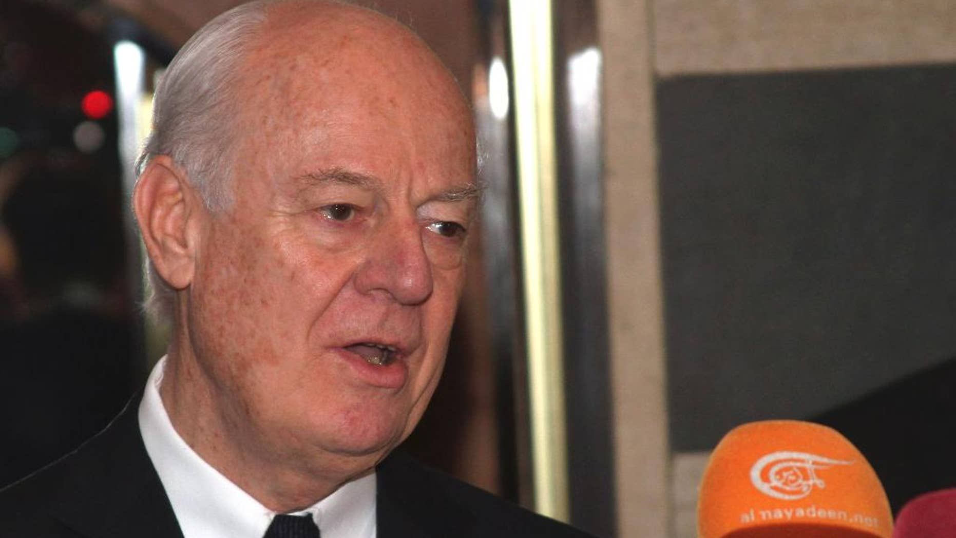 U.N. Special Envoy for Syria Staffan de Mistura speaks with reporters in Damascus, Syria Wednesday, Feb. 11, 2015 following a meeting with Syrian President Bashar Assad. De Mistura said he met with Assad to discuss a U.N. initiative to cease hostilities in the northern city of Aleppo. (AP Photo)