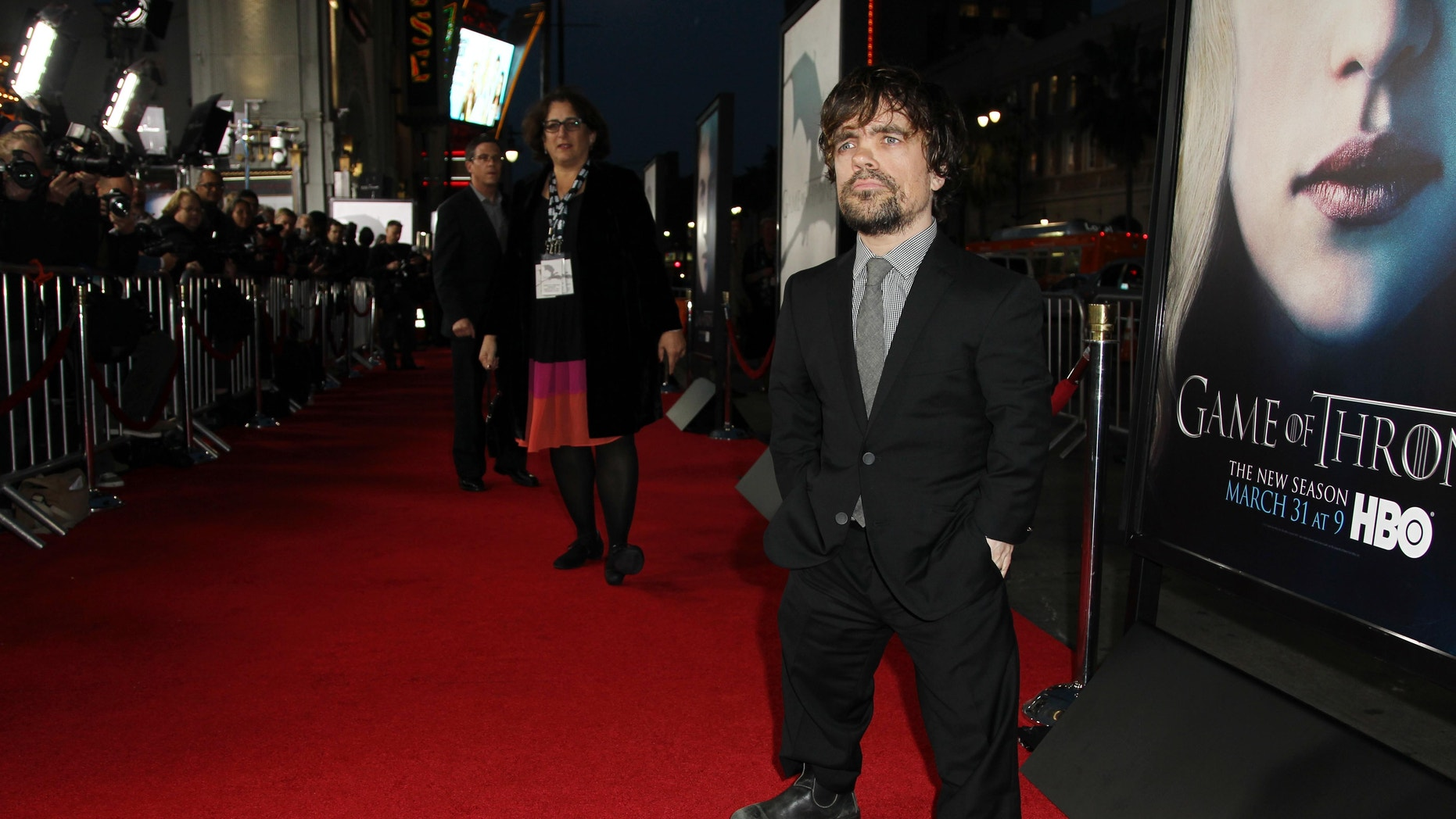 "Cast member Peter Dinklage arrives at the premiere for the third season of the HBO television series ""Game of Thrones"" at the TCL Chinese Theatre on Monday, March 18, 2013 in Los Angeles."