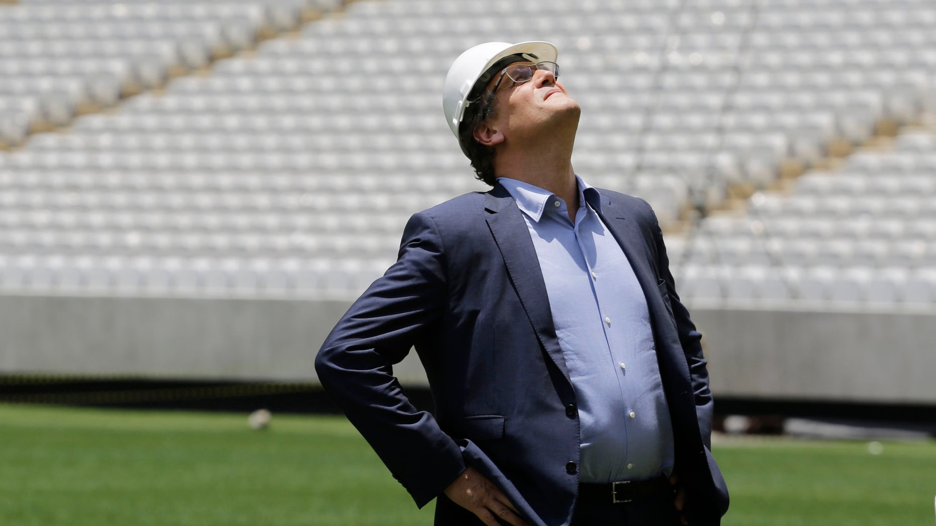 Jerome Valcke, Secretary General of FIFA is seen during an inspection tour of Arena de Sao Paulo stadium, in Sao Paulo, Brazil, Monday, Jan. 20, 2014. Members of FIFA and the 2014 WCup Local Organizing Committee started an inspection tour of stadiums in host cities across Brazil. (AP Photo/Nelson Antoine)