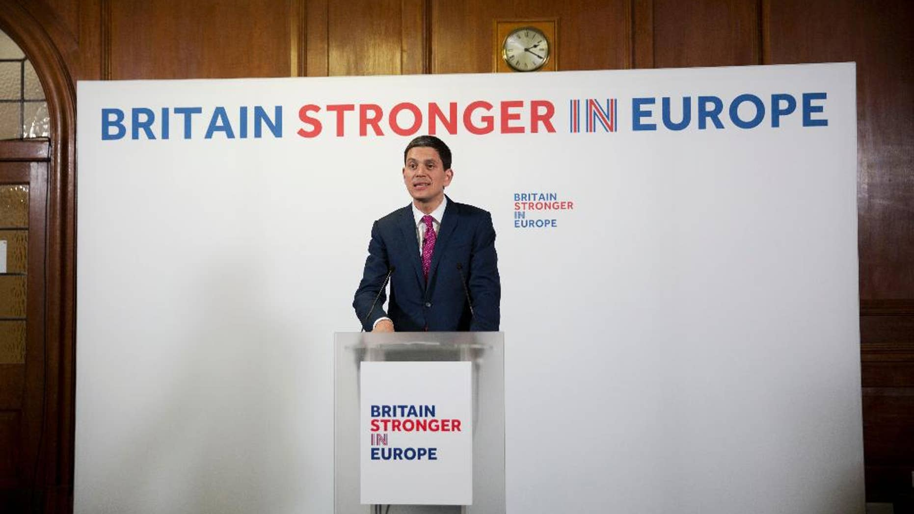David Miliband, former British Foreign Secretary and current President and CEO of the International Rescue Committee based in New York, makes a speech on Britain's EU membership in London, Tuesday, April 12, 2016.  Miliband on Tuesday delivered the speech for the Britain Stronger In Europe campaign on the foreign policy implications on Britain leaving Europe. Britain is to hold a referendum to decide on their EU membership on June 23. (AP Photo/Matt Dunham)