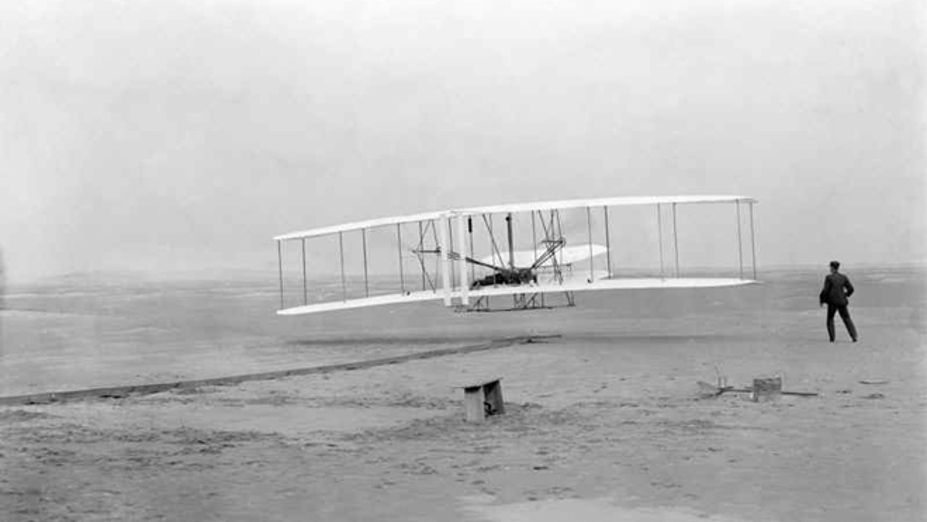 Dec. 17 1903: The first flight by Wright brothers Ovrville and Wilbur, at Kitty Hawk, North Carolina.
