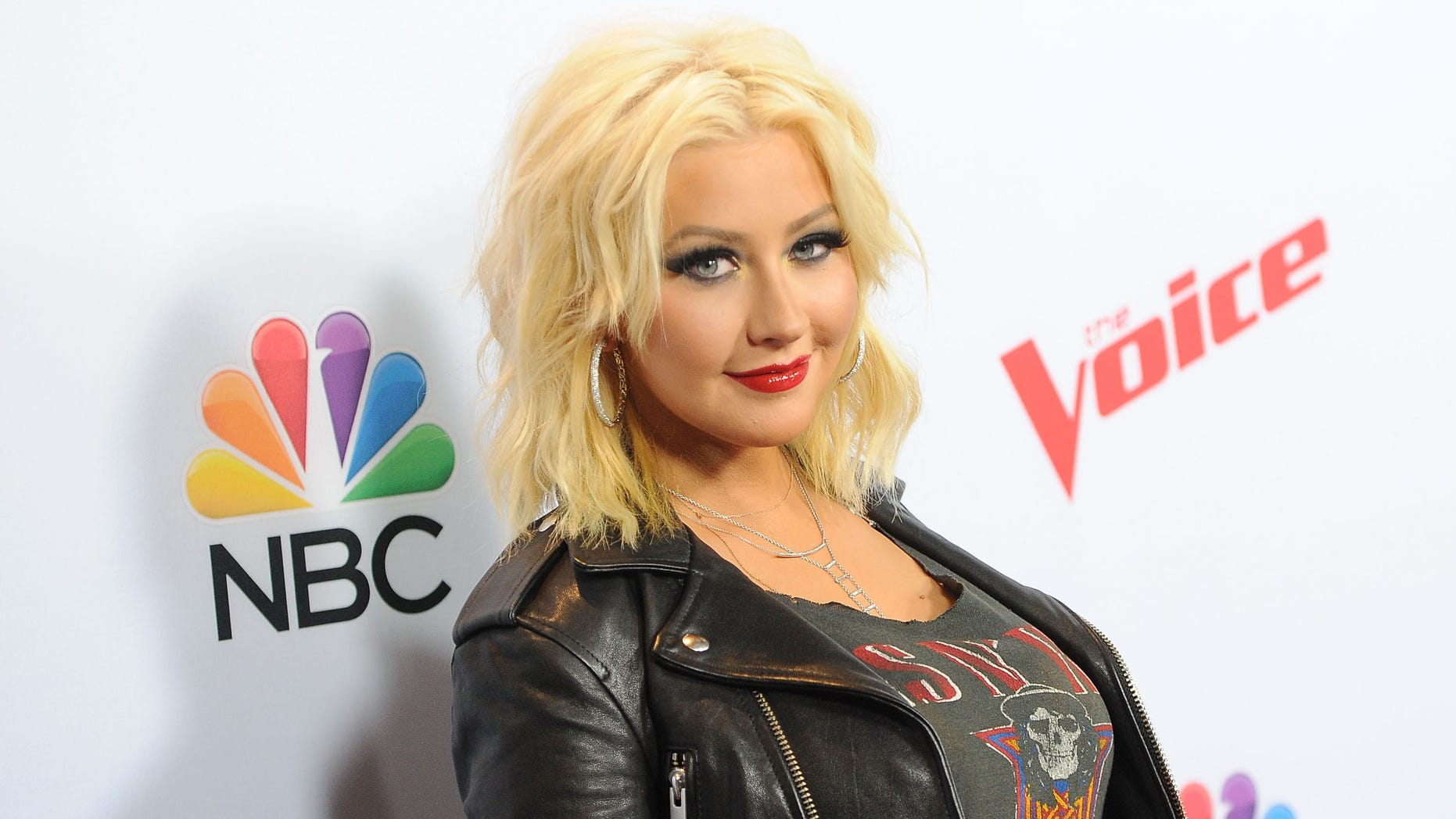 """Aguilera arrives at """"The Voice"""" red carpet event on April 23, 2015 in West Hollywood, California."""