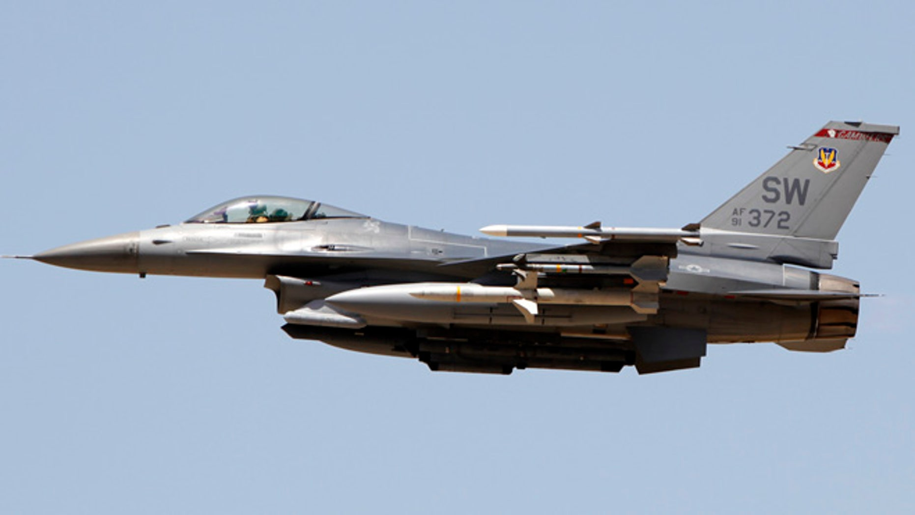 A pilot was able to safely eject before his F-16 crashed.