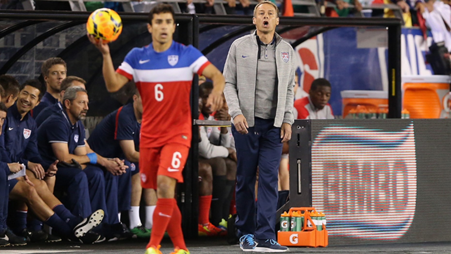 GLENDALE, AZ - APRIL 02:  Head coach Jurgen Klinsmann of USA reacts on the sidelines during the International Friendly against Meixco at University of Phoenix Stadium on April 2, 2014 in Glendale, Arizona. Mexico and USA played to a 2-2 tie.  (Photo by Christian Petersen/Getty Images) *** Local Caption *** Jurgen Klinsmann