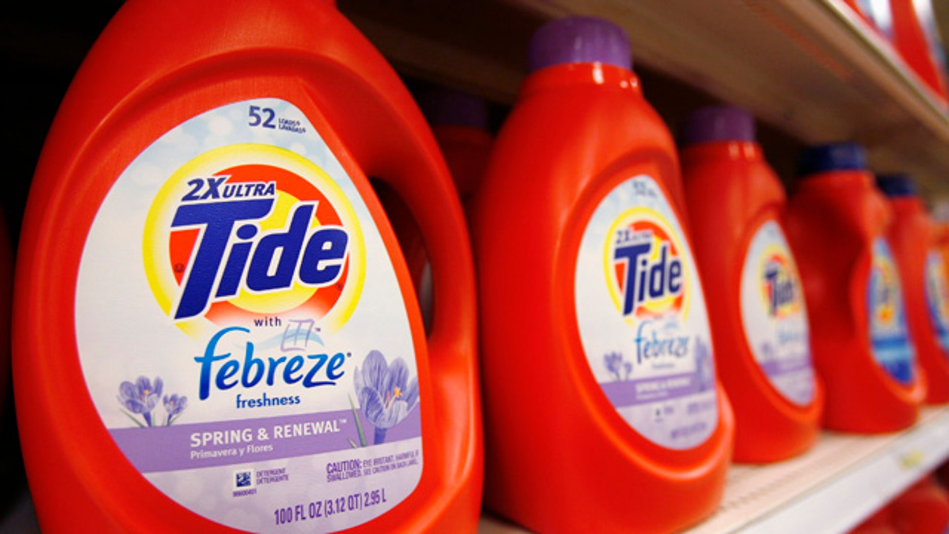 FILE: Tide detergent, a Procter & Gamble product, is displayed on a shelf in a store in Alexandria.