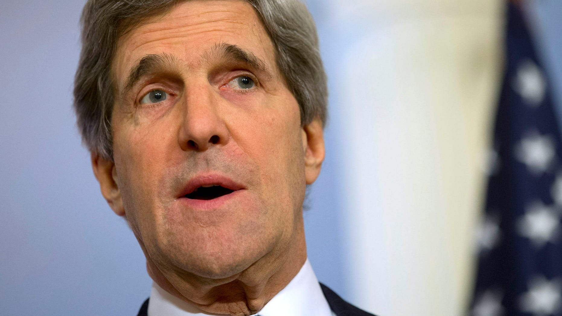 FILE: Feb. 14, 2013: Secretary of State John Kerry speaks at the State Department in Washington, D.C.