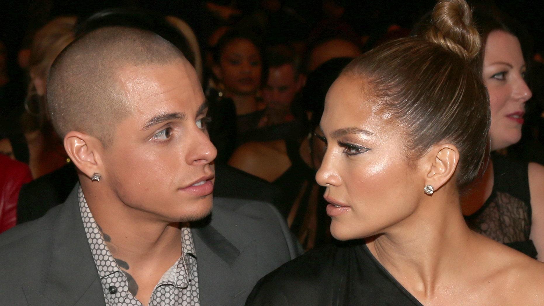 Casper Smart and singer Jennifer Lopez at the 55th Annual GRAMMY Awards on February 10, 2013.
