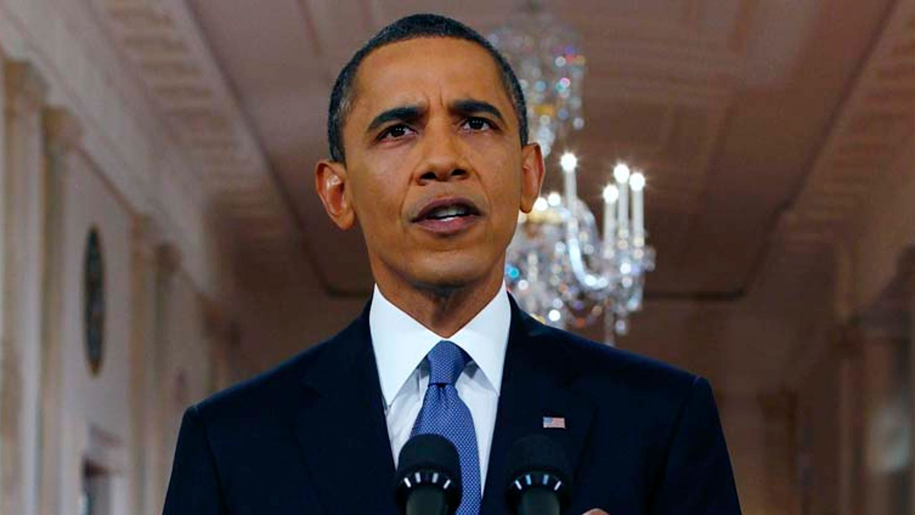 President Barack Obama delivers a televised address from the East Room of the White House in Washington, Wednesday, June 22, 2011 on his plan to drawdown U.S. troops in Afghanistan. (AP Photo/Pablo Martinez Monsivais, Pool)