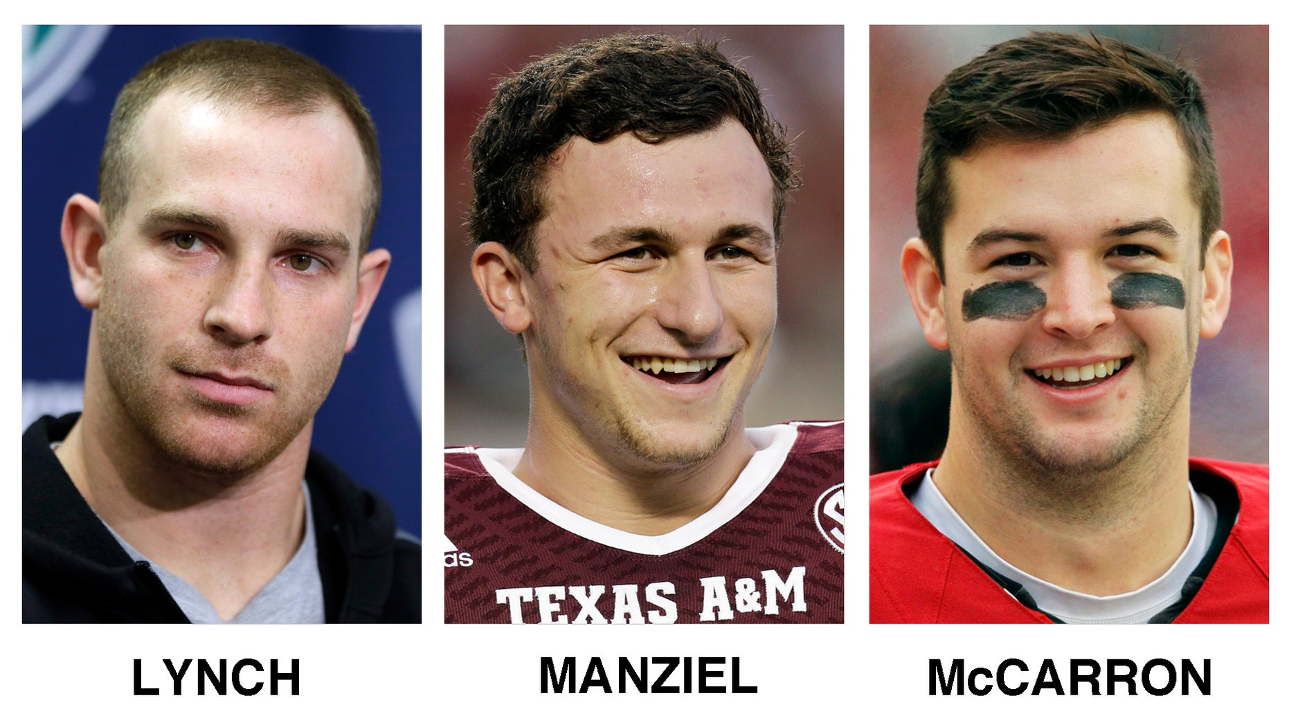 FILE - This combo of file photos shows the six Heisman Trophy finalist, from left, Northern Illinois quarterback Jordan Lynch, Texas A&M quarterback Johnny Manziel, Alabama's quarterback AJ McCarron, Auburn running back Tre Mason, Boston College running back Andre Williams and Florida State quarterback Jameis Winston. The winner will be announced Saturday night, Dec. 14, 2013, in New York. (AP Photo/File)