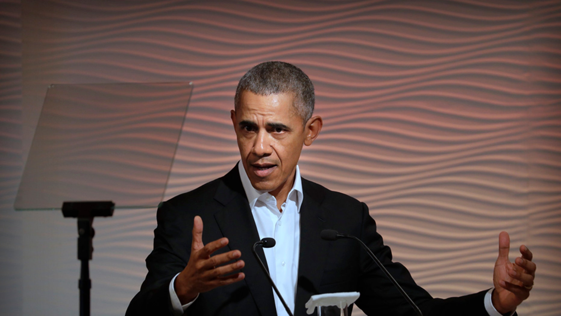 Former U.S. President Barack Obama speaks during a leadership summit in New Delhi, India, Friday, Dec. 1, 2017. Obama was one of the keynote speakers at the event organized by the Hindustan Times newspaper.(AP Photo/Manish Swarup)