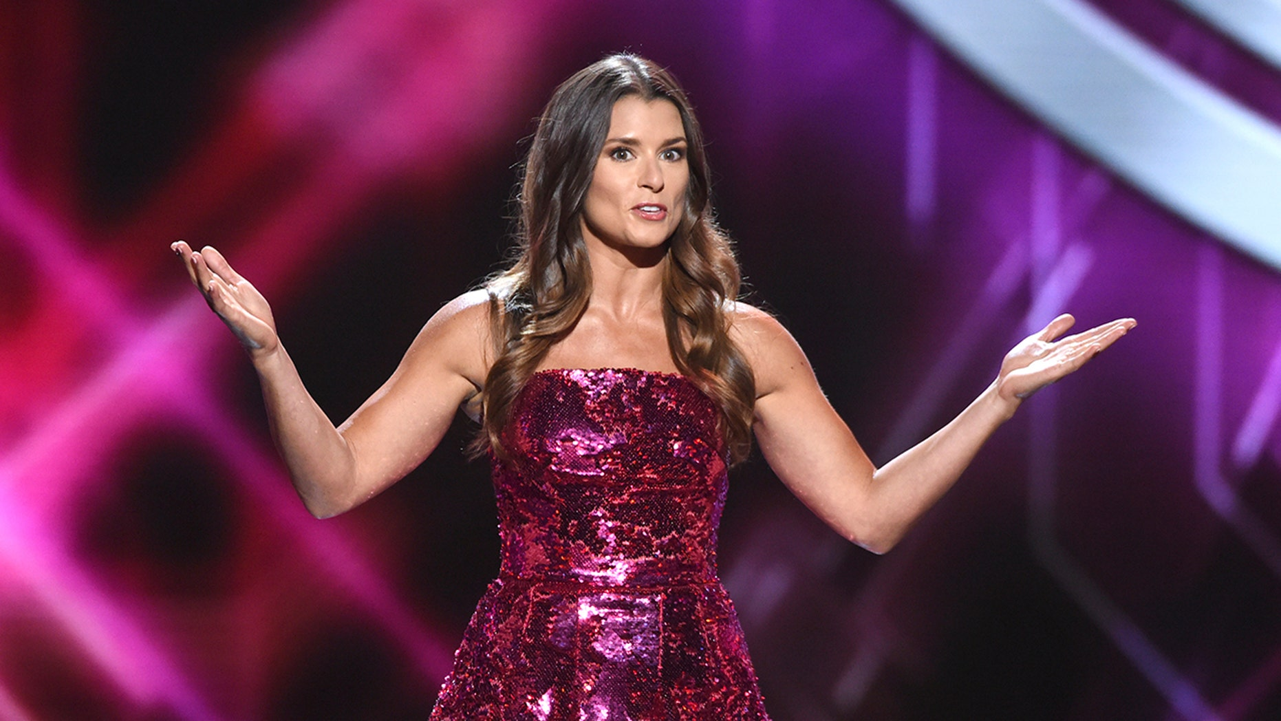 Host Danica Patrick appears at the ESPY Awards at Microsoft Theater on Wednesday, July 18, 2018, in Los Angeles. (Photo by Phil McCarten/Invision/AP)
