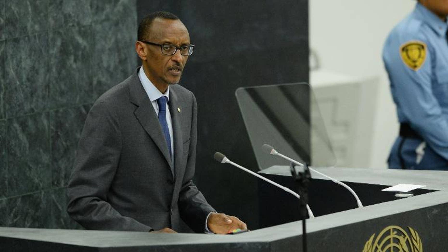 Paul Kagame, President of Rwanda, speaks at the United Nations General Assembly, September 25, 2013 in New York.